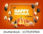 vector happy halloween poster... | Shutterstock .eps vector #1170192964