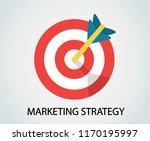 the arrow dart hit exactly in...   Shutterstock .eps vector #1170195997