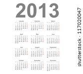 Simple 2013 Year Vector Calendar
