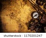 top view of vintage navigation... | Shutterstock . vector #1170201247