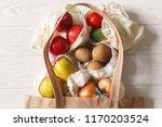 groceries in eco bags. eco... | Shutterstock . vector #1170203524