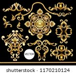 Golden baroque elements isolated. Vector illustration. - stock vector