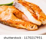 grilled salmon and vegetables | Shutterstock . vector #1170217951