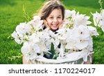 little girl enjoy sunny day... | Shutterstock . vector #1170224017