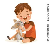 boy and dog lovely cartoon... | Shutterstock .eps vector #1170248911