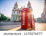 red telephone booth with sun... | Shutterstock . vector #1170276577