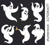 funny halloween ghost set in...   Shutterstock .eps vector #1170281677