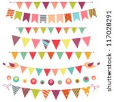 colorful bunting and garland... | Shutterstock .eps vector #117028291
