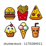 fast food. pixel art. vector... | Shutterstock .eps vector #1170284011