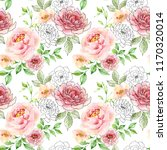 watercolor and ink floral... | Shutterstock . vector #1170320014