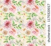 watercolor and ink floral... | Shutterstock . vector #1170320017