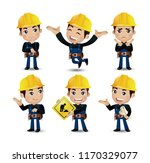 set of engineer  worker | Shutterstock .eps vector #1170329077