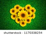 heart shape with sunflowers on... | Shutterstock . vector #1170338254