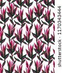 tropical floral pattern red... | Shutterstock . vector #1170343444