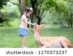 young girl play and feed with...   Shutterstock . vector #1170373237