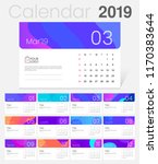 2019 desk calendar. simple... | Shutterstock .eps vector #1170383644