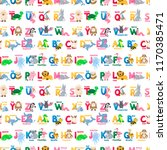 animals alphabet seamless... | Shutterstock .eps vector #1170385471