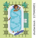 black woman taking a bath tub | Shutterstock .eps vector #1170404851