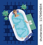woman taking a bath tub | Shutterstock .eps vector #1170404854