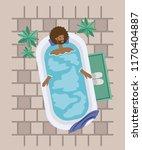 black man taking a bath tub | Shutterstock .eps vector #1170404887