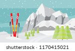 ski equipment  trail  alps  fir ... | Shutterstock .eps vector #1170415021
