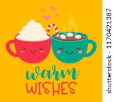 cute hot chocolate with... | Shutterstock .eps vector #1170421387