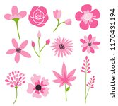 Stock vector flower icons set vector collection of floral elements 1170431194