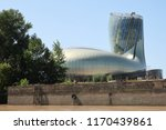Small photo of Bordeaux, Nouvelle aquitaine / France - 09 02 2018 : new Cite du Vin in Bordeaux is the world's first successful international wine experience view from garonne river in boat