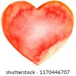 red watercolor heart. symbol of ...   Shutterstock . vector #1170446707