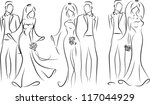 silhouette of bride and groom ...   Shutterstock .eps vector #117044929