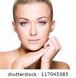 beautiful face of a young... | Shutterstock . vector #117045385