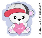 cute baby bear with red hearts. ... | Shutterstock .eps vector #1170462697
