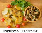 fried potatoes and marinated...   Shutterstock . vector #1170490831