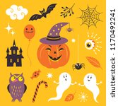 vector set halloween design... | Shutterstock .eps vector #1170492241