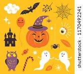 vector set halloween design... | Shutterstock .eps vector #1170492241