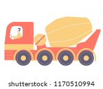 red concrete mixer with driver. ... | Shutterstock .eps vector #1170510994