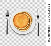 plate with fork and knife with... | Shutterstock .eps vector #1170515881