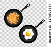 pan with pancake and fried eggs ... | Shutterstock .eps vector #1170515884