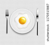 plate with fried eggs fork and...   Shutterstock .eps vector #1170515887