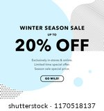 20  off price discount. winter... | Shutterstock .eps vector #1170518137