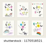 hand drawn ink and watercolor... | Shutterstock .eps vector #1170518521