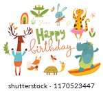 happy birthday card with wild... | Shutterstock .eps vector #1170523447