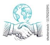 hand drawn handshake.... | Shutterstock .eps vector #1170523591