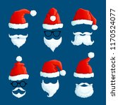 santa hats with moustache and... | Shutterstock .eps vector #1170524077