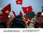hanoi  vietnam  many fans wave... | Shutterstock . vector #1170547477
