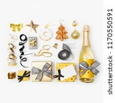 flat lay christmas set with... | Shutterstock . vector #1170550591