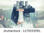 surreal businessman open hand... | Shutterstock . vector #1170553981