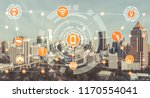 Small photo of Smart city and wireless communication network concept - Internet of Things ( IOT ), Information Communication Technology ( ICT )