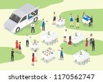 people providing catering at... | Shutterstock .eps vector #1170562747