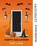 halloween design. entrance door ... | Shutterstock .eps vector #1170572797